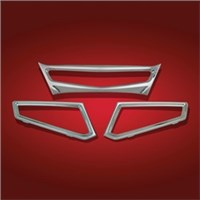 Taillight Lens Trim - 3 Piece - Chrome -