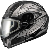 GMax Black/Silver GM64S Carbide Modular Snowmobile Helmet with Dual Lens Shield