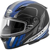 GMAX Youth Black/Blue Rogue Snowmobile Helmet