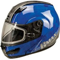 GMAX GM44S Splatter Blue Snowmobile Helmet