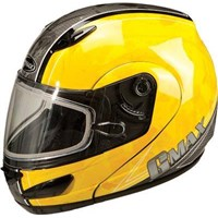 GMAX GM44S Splatter Yellow Snowmobile Helmet