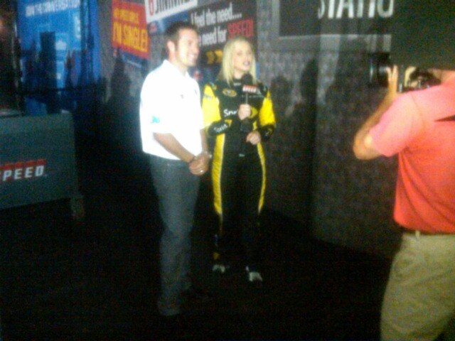 JJ Tweeting with Miss Sprint Cup before going on Trackside