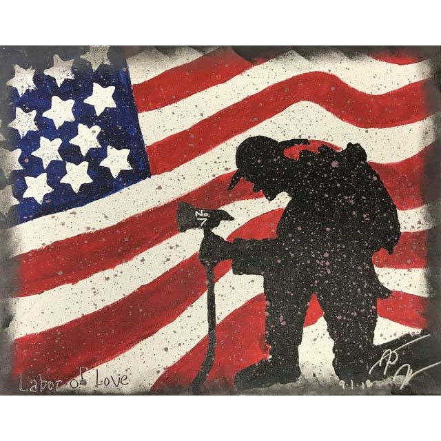 Firefighter Flag Painting