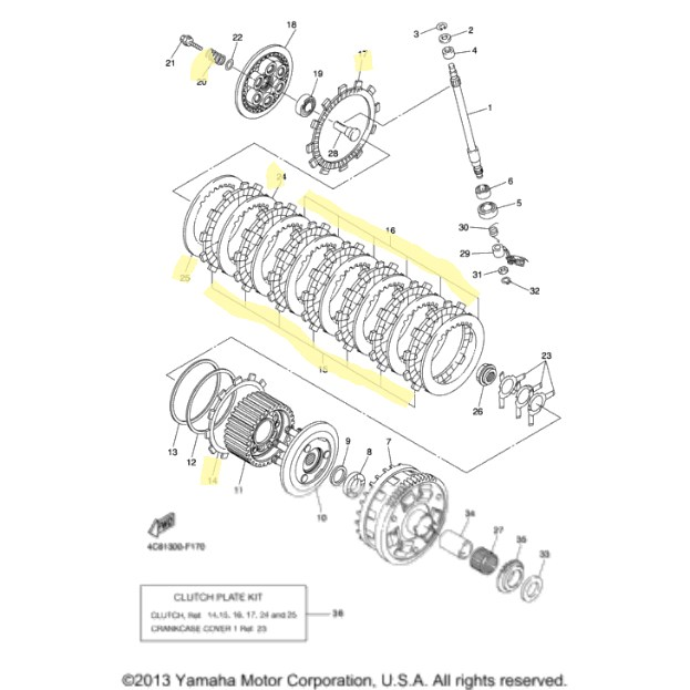 Yamaha Clutch Kit for 2007 to 2008 YZF-R1