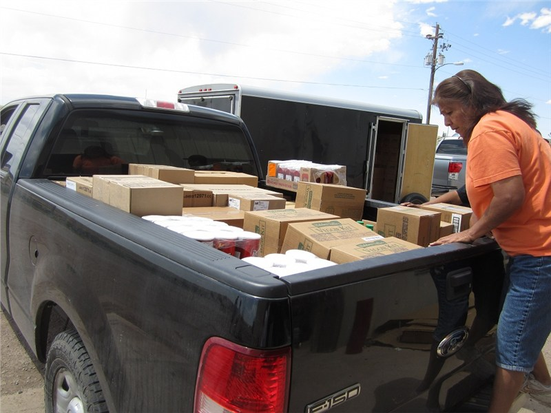 Within hours of loading 19 families in Houck received distributions of food, cleaning products, hygiene products and children's Bibles.