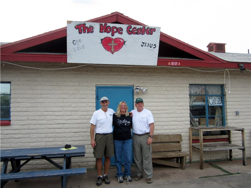 Jim, Debra Clendon and Randy in front of The Hope Center in Whiteriver AZ