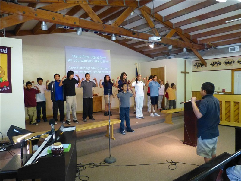 Sun Valley Indian School students closing chapel with 'The Warrior Song'