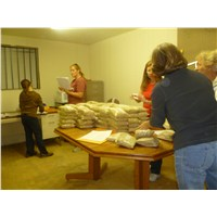 Survey packages were assembled and soup mix packages labeled and boxed