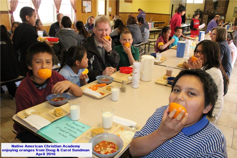 Native American Christian Academy in Sun Valley AZ Enjoying Oranges - Apr 2016