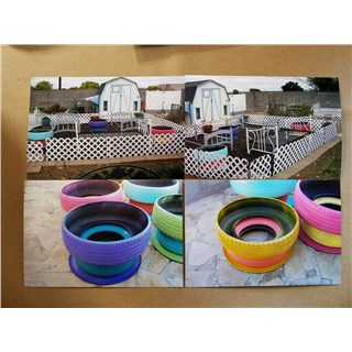 10/26/18 Carol from Snowflake Church of Christ brought a picture of her garden for Randy to see.  She has painted tires made to look like a pot and then bed frames for her