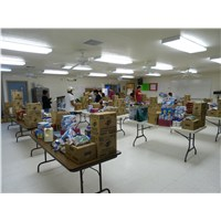 The First Presbyterian Church of Leupp AZ team sorting supplies for church pickups