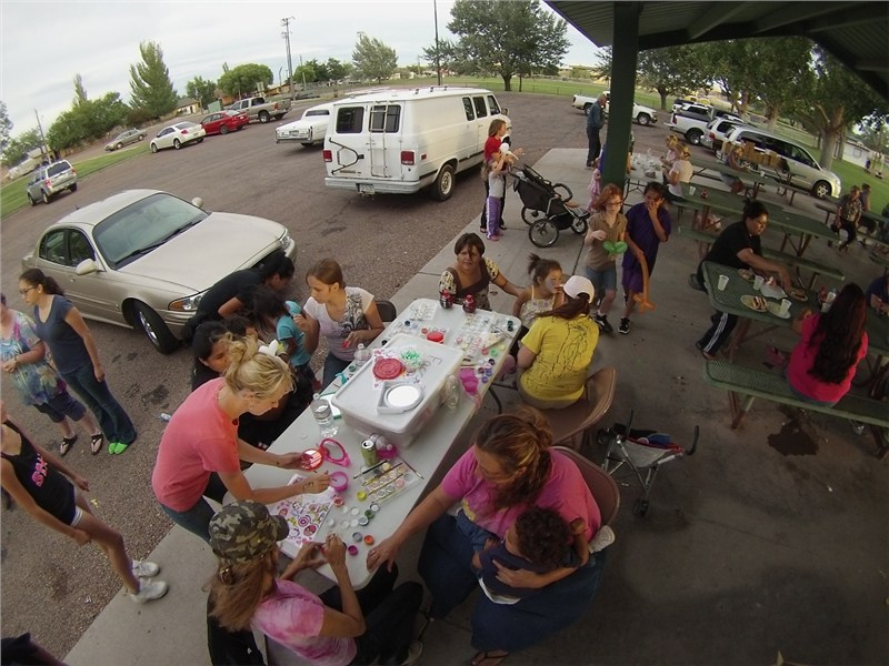The face painting table was a very popular stop