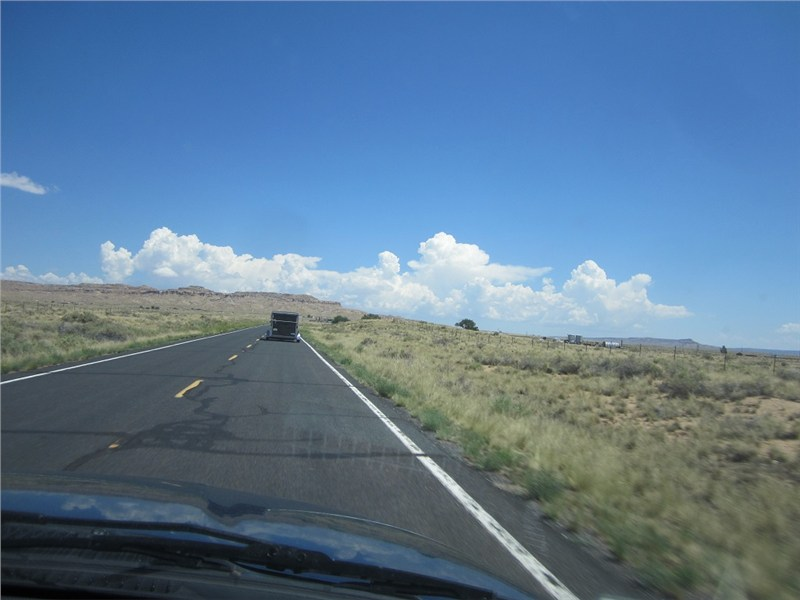 The west-bound team heading north to Second Mesa and the Hopi Reservation… just above the top of the trailer