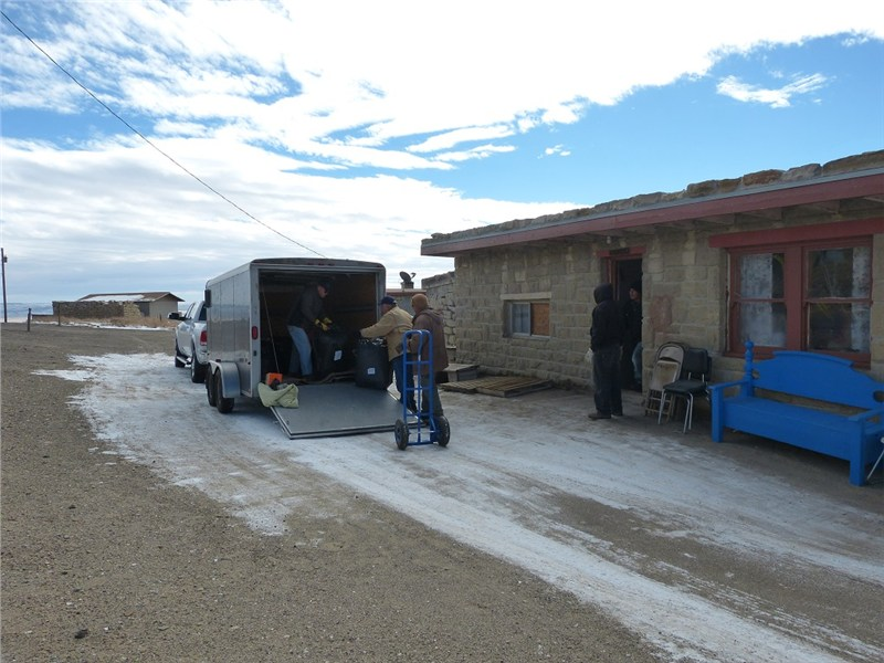 Arriving at the Hopi Reservation starting to unload