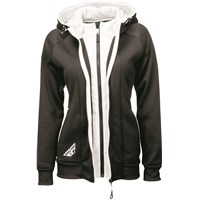 Ladies Track Zip-Up Hoodie Black/White