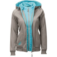 Ladies Track Zip-Up Hoodie Grey/Blue