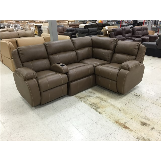 Brown J Lounge Theatre Seating With Two Recliners and Storage