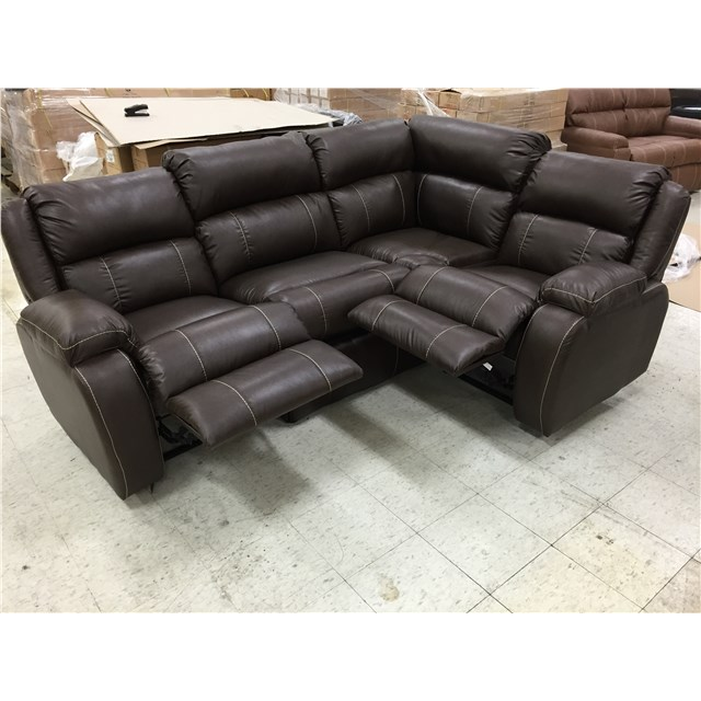 Chocolate J Lounge Theatre Seating With Two Recliners and Storage