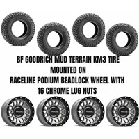 Raceline Podium Beadlock Black Grey Wheel / BF Goodrich KM3 Tire Kit